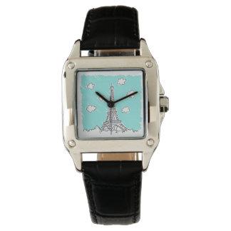エッフェル塔のイラストレーションの腕時計 腕時計