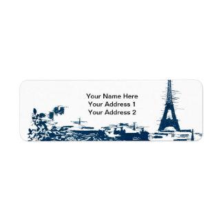エッフェル塔のパリのスカイラインのカスタムの宛名ラベル ラベル
