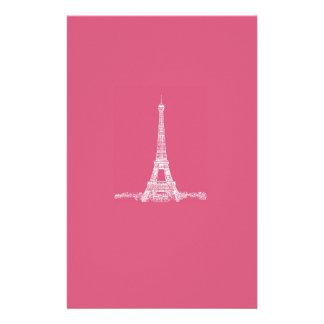 エッフェル塔のパリの抽象的なピンク 便箋