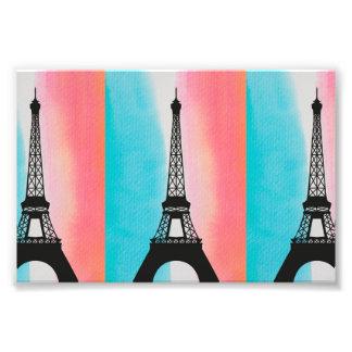 エッフェル塔のパリの涼しいカラフルな背景 フォトプリント