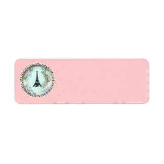 エッフェル塔のピンクのバラのシマウマのプリントのラベル ラベル
