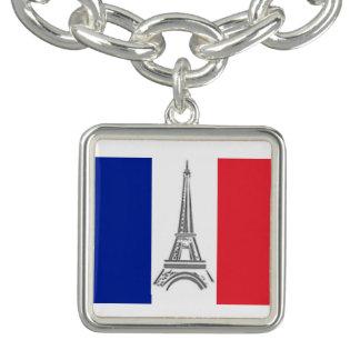 エッフェル塔のフランスのな旗のチャームブレスレット チャームブレスレット