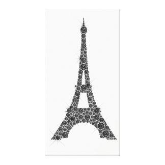 エッフェル塔のフランス人のパリの白黒の水晶 キャンバスプリント