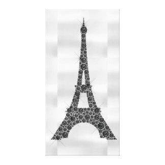 エッフェル塔のフランス人のパリの白黒の贅沢 キャンバスプリント