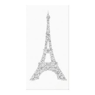 エッフェル塔のフランス人のパリの銀製灰色の水晶 キャンバスプリント