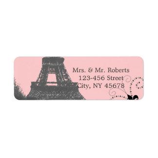 エッフェル塔のヴィンテージのパリのピンクの結婚式 ラベル