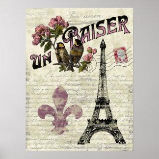 エッフェル塔のヴィンテージのフランス人ポスター ポスター