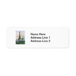 エッフェル塔のヴィンテージの郵便はがきのプリント ラベル