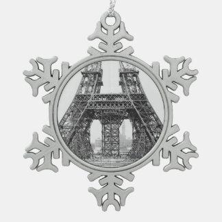 エッフェル塔の建築 スノーフレークピューターオーナメント