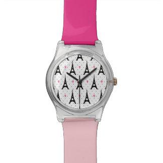エッフェル塔の水玉模様及びハートパターン 腕時計