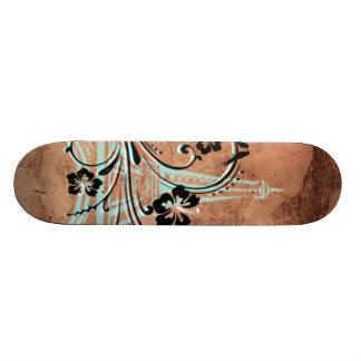 エッフェル塔の花柄 スケートボード