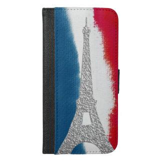 エッフェル塔の銀の一見の赤く白くおよび青のフランス語 iPhone 6/6S PLUS ウォレットケース