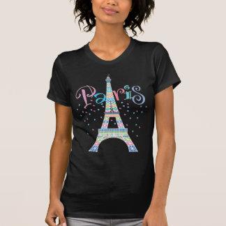 エッフェル塔の黒のTシャツ Tシャツ