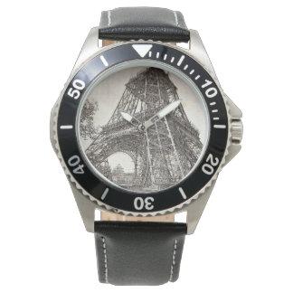 エッフェル塔はステンレス鋼の黒の革を改造します 腕時計