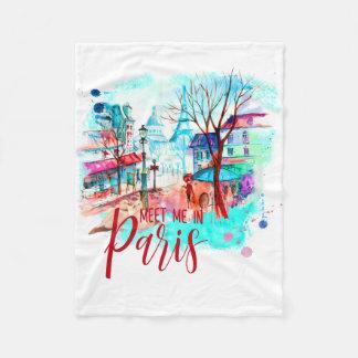 エッフェル塔はパリの水彩画の(ばちゃばちゃ)跳ねるの私に会います フリースブランケット