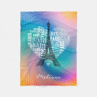 エッフェル塔及び銘刻文字のパリ|のカラフル フリースブランケット