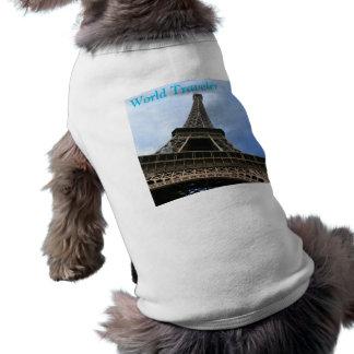 """エッフェル塔犬のワイシャツ- """"世界旅行者"""" ペット服"""