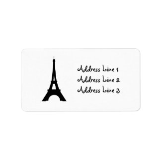 エッフェル塔、パリのシルエットの宛名ラベル ラベル
