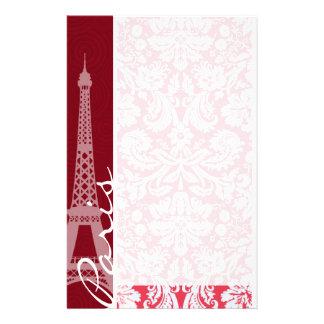 エッフェル塔、パリの赤いダマスク織 便箋