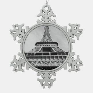 エッフェル塔、パリ、フランス スノーフレークピューターオーナメント