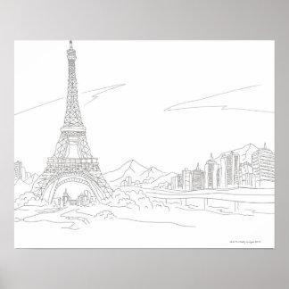エッフェル塔、パリ ポスター