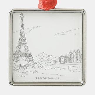 エッフェル塔、パリ メタルオーナメント