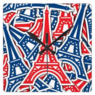 エッフェル塔、フランスパターン スクエア壁時計
