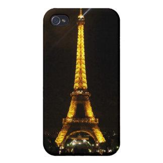 エッフェル塔-夜、黄色灯およびビームの… iPhone 4 ケース