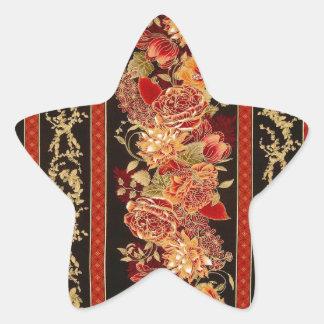 エデンの花柄のストライプ 星シール