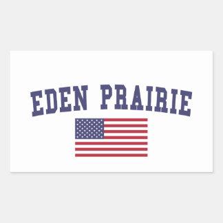 エデンの草原米国の旗 長方形シール