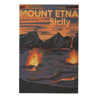 エトナ火山のシシリーのヴィンテージ旅行ポスター ウッドウォールアート