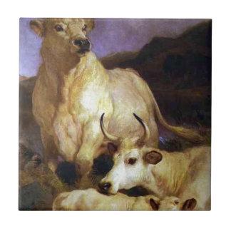 エドウィンヘンリーの土地によるChillinghamの野生の牛 タイル