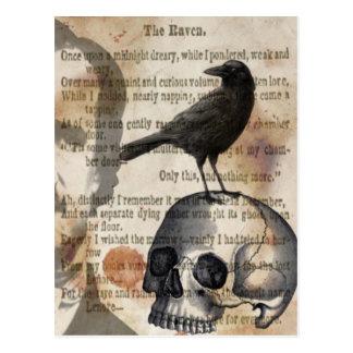 エドガー・アラン・ポーワタリガラスのスカルおよび鳥 ポストカード