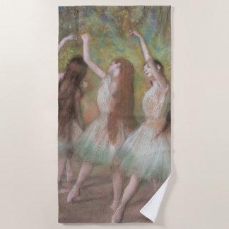 エドガー・ドガのヴィンテージのバレエの芸術著緑のダンサー ビーチタオル