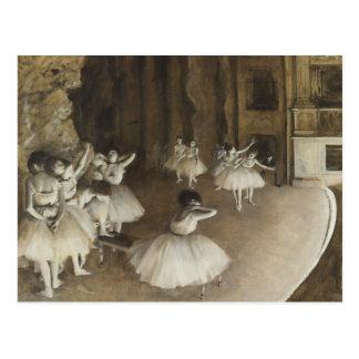 エドガー・ドガ-ステージのバレエのリハーサル ポストカード