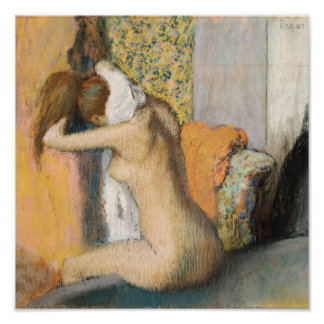 エドガー・ドガBathの後の|、女性の乾燥の首 ポスター