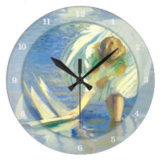 エドマンドチャールズTarbell著ヨットを持つ女の子 ラージ壁時計