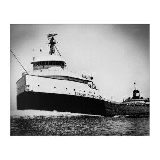 エドマンドFitzgeraldのヴィンテージ海上五大湖 アクリルウォールアート