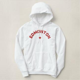 エドモントンのフード付きスウェットシャツ-赤いカナダのカエデの葉 刺繍入りパーカ