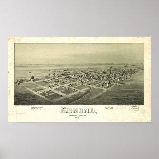 エドモンドオクラホマ1891の旧式なパノラマ式の地図 ポスター