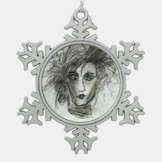 エドワードのファンタジー映画芸術の雪片の装飾 スノーフレークピューターオーナメント