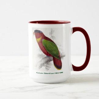 エドワード・リアの鳥のコレクションの黒によっておおわれるLory マグカップ