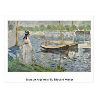 エドワールManet著アルジャントゥーユのセーヌ河 ポストカード