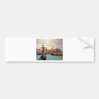 エドワールManet著ボルドーの港 バンパーステッカー