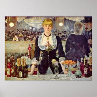 エドワールManet - Folies-Bergereのバー ポスター