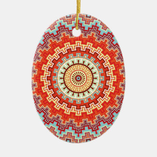 エネルギー曼荼羅のカラフルな万華鏡のように千変万化するパターンのデザイン セラミックオーナメント
