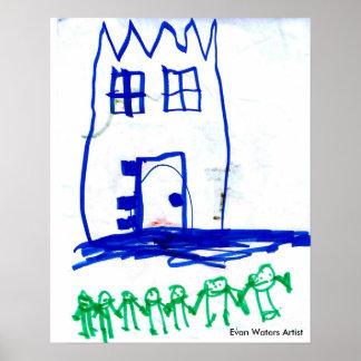 エバンは芸術家に水をまきます ポスター