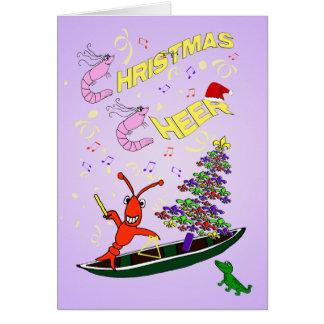 エビおよびCrawfishのケージャンのクリスマスの応援 カード
