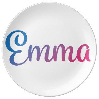 エマのスタイリッシュな筆記体 磁器プレート