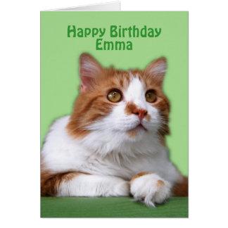エマのハッピーバースデーのオレンジおよび白い猫 カード
